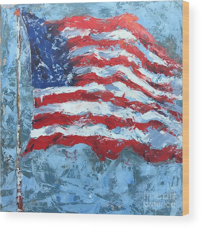 Flag Wood Print featuring the painting American Flag by Patricia Caldwell
