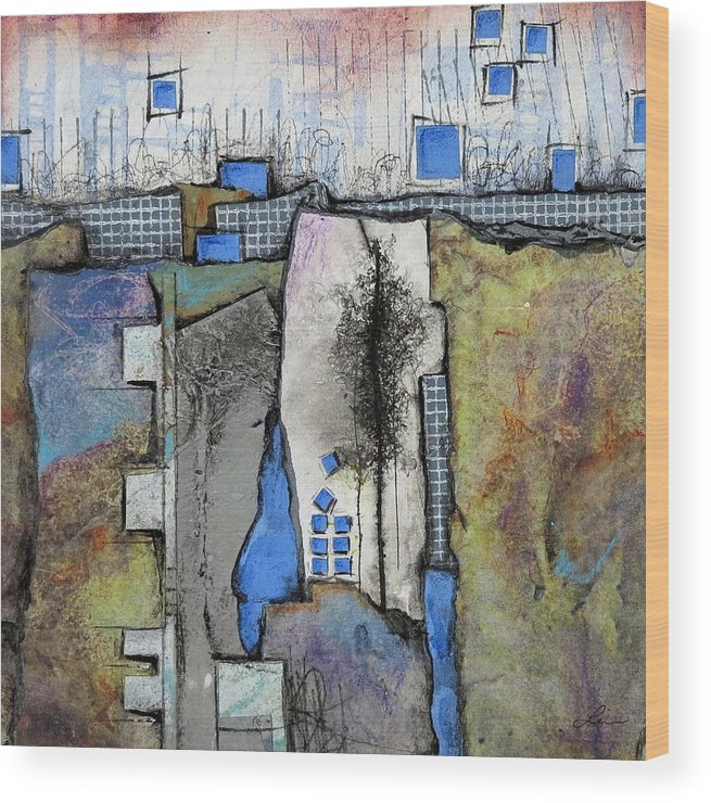 Collage Wood Print featuring the mixed media One Tree by Laura Lein-Svencner