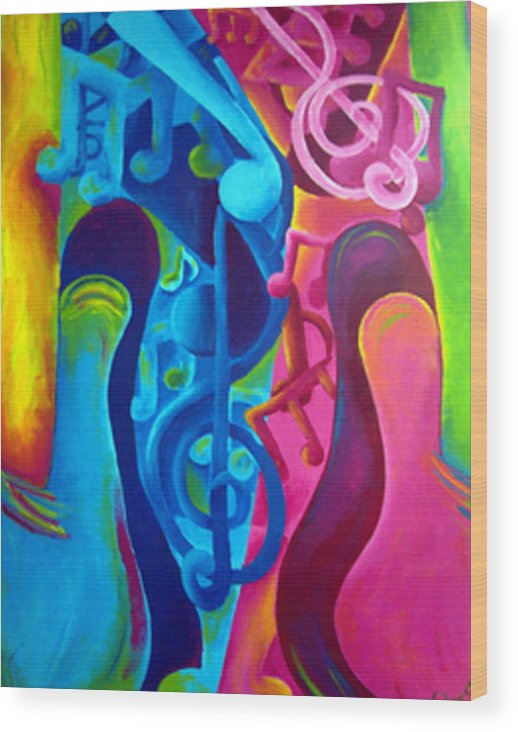 Vivid Contemporary Abstract Wood Print featuring the painting Guitars by Shasta Miller
