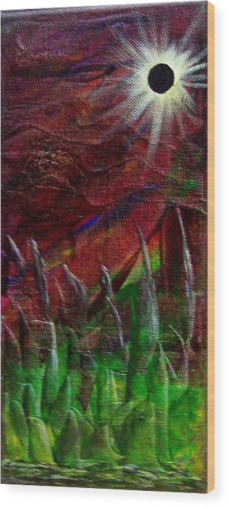 Abstract Wood Print featuring the painting Eclpise II by Tony Rodriguez
