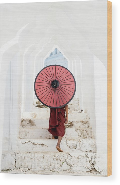 Steps Wood Print featuring the photograph Buddhist Monk Walking Along Temple by Martin Puddy