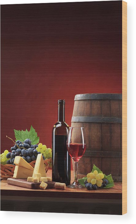 Cheese Wood Print featuring the photograph Red Wine Composition by Valentinrussanov