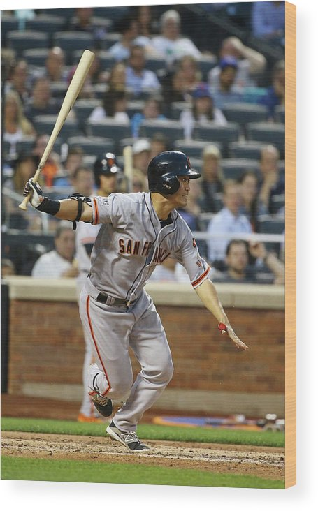 People Wood Print featuring the photograph San Francisco Giants V New York Mets by Al Bello