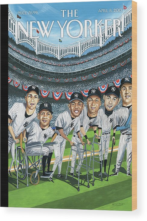 Yankees Wood Print featuring the painting New Yorker April 8th, 2013 by Mark Ulriksen