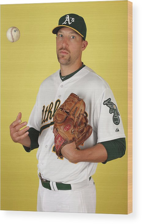 Media Day Wood Print featuring the photograph Oakland Athletics Photo Day by Christian Petersen