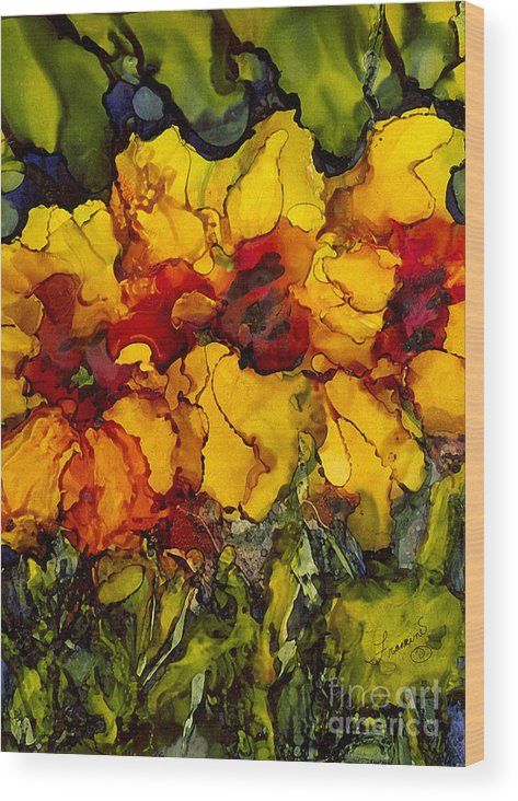Alcohol Inks Wood Print featuring the painting AI-6 Abundance by Francine Dufour Jones