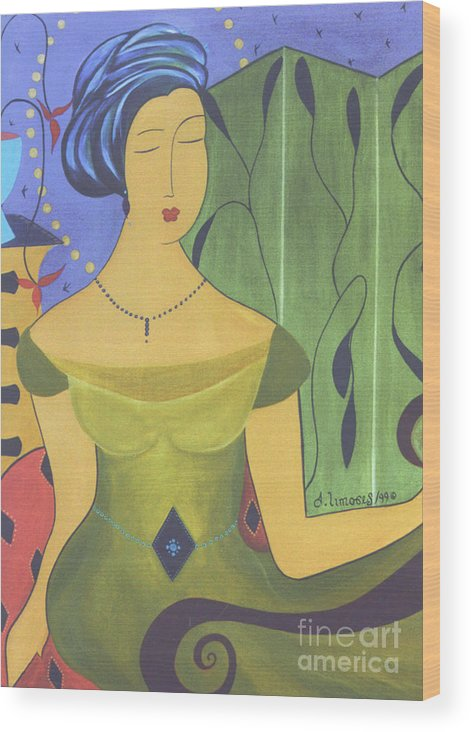 #female #figurative #decorative #fineart #art #images #painter #artist #print #commissioned #feminine #beauty #ancientbeauty Wood Print featuring the painting Ancient Beauty by Jacquelinemari