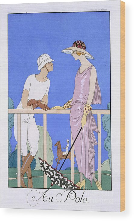 Au Polo Wood Print featuring the painting At Polo by Georges Barbier