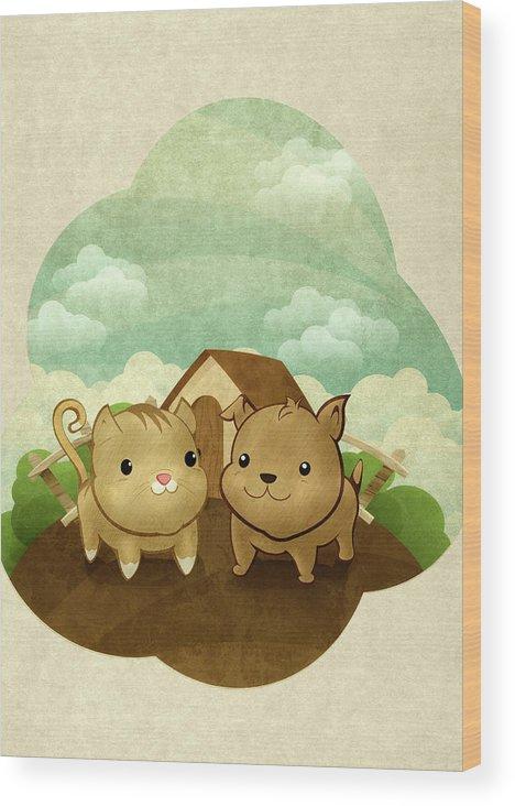 Pets Wood Print featuring the digital art Bichos by Por Caio Ramos
