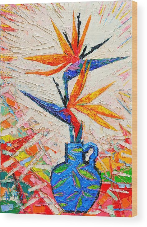 Bird Wood Print featuring the painting Bird Of Paradise Flowers by Ana Maria Edulescu