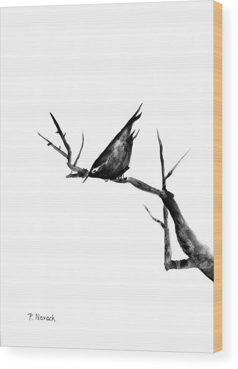 Bird Wood Print featuring the painting Black Bird On A Branch by Patricia Novack