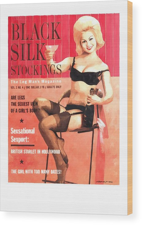 Black Silk Magazine Wood Print featuring the digital art Black Silk - Vintage Magazine Covers Series by Gabriel T Toro