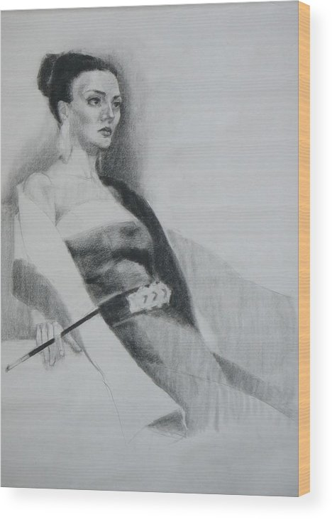 Figure Wood Print featuring the painting Burning by Irena Jablonski