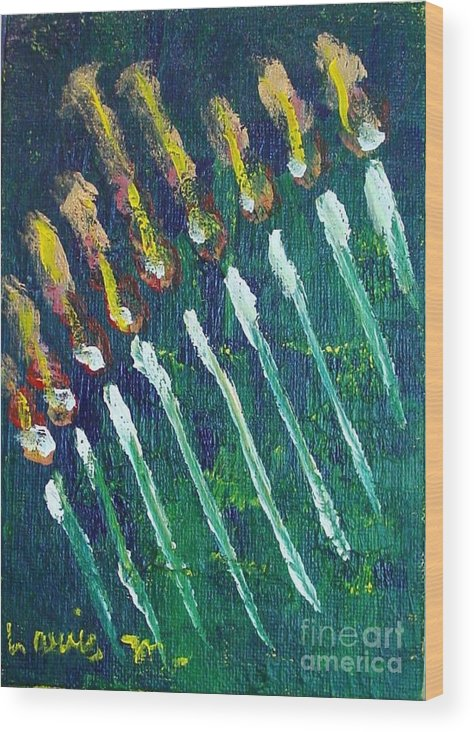 Chanukah Wood Print featuring the painting Chanukiah in the dark by Laurie Morgan