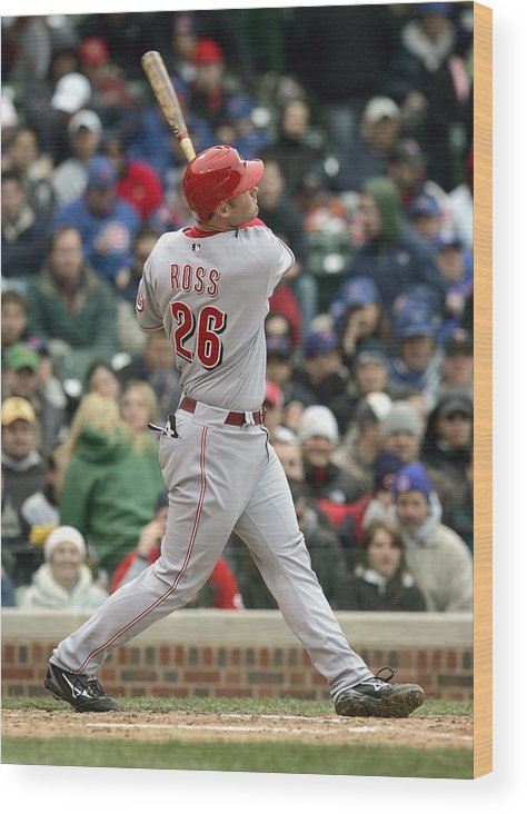 Motion Wood Print featuring the photograph Cincinnati Reds v Chicago Cubs by Jonathan Daniel