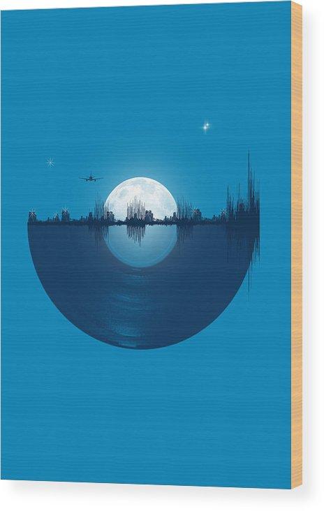 City Wood Print featuring the digital art City tunes by Neelanjana Bandyopadhyay