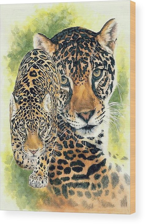 Jaguar Wood Print featuring the mixed media Compelling by Barbara Keith