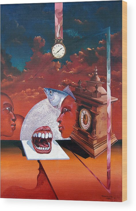 Otto+rapp Surrealism Surreal Fantasy Time Clocks Watch Consumption Wood Print featuring the painting Consumption Of Time by Otto Rapp