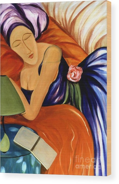 #female #figurative #floral #beauty #dream #fineart #art #images #painting #artist #print Wood Print featuring the painting Dream by Jacquelinemari