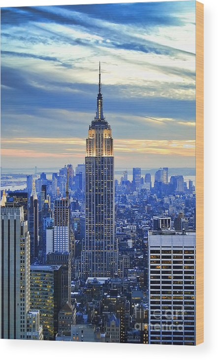 New York City Wood Print featuring the photograph Empire State Building New York City USA by Sabine Jacobs