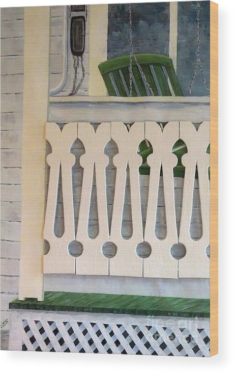 Farmhouse Wood Print featuring the painting Farmhouse Porch Left Side by Judith Espinoza