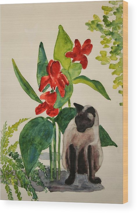 Wood Print featuring the painting Flealing by Helen Hickey