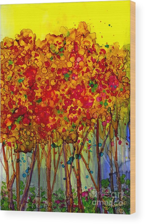 Orange Wood Print featuring the mixed media Happy Trees by Francine Dufour Jones