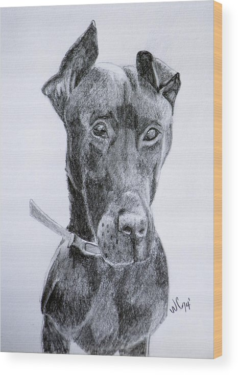 Graphite Wood Print featuring the drawing Harly by Wade Clark