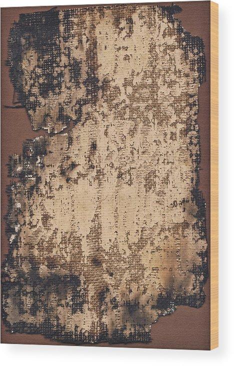 Burnt Wood Print featuring the photograph High Resolution Burnt Primed Burlap by Miroslav Boskov