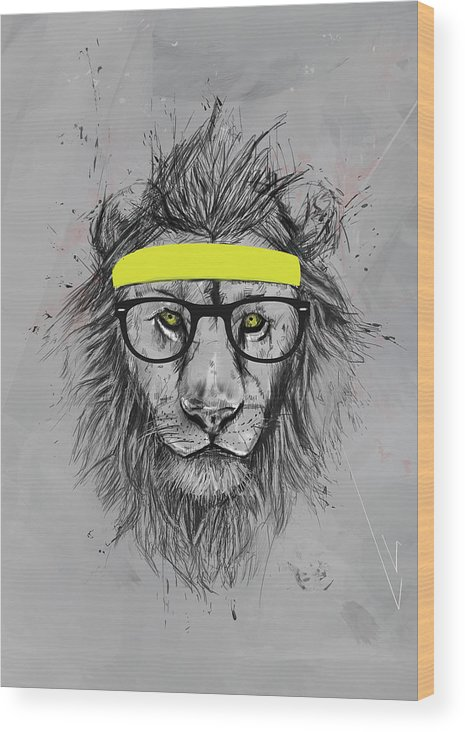 Lion Wood Print featuring the drawing Hipster lion by Balazs Solti
