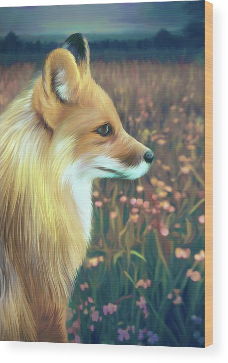 Grass Wood Print featuring the digital art Illustration Of Red Fox by Illustration By Shannon Posedenti