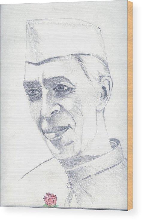 Jawaharl Lal Nehru Photos Wood Print featuring the painting Jawaharlal Nehru by Tanmay Singh