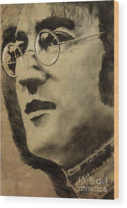 John Lennon Wood Print featuring the drawing John Lennon Portrait by Drawspots Illustrations
