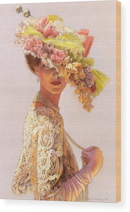 Portrait Wood Print featuring the painting Lady Victoria Victorian Elegance by Sue Halstenberg