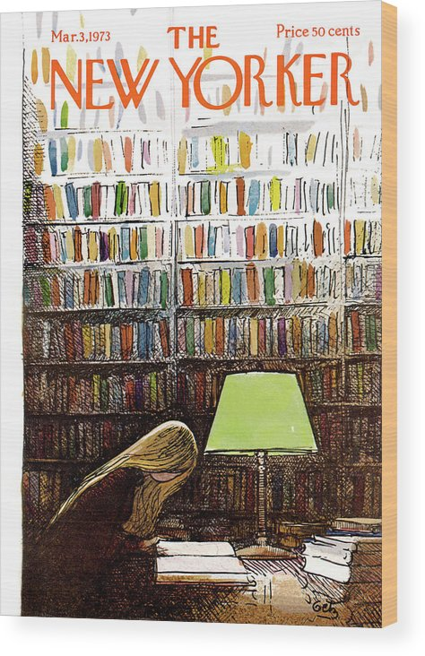 Library Wood Print featuring the painting New Yorker March 3, 1973 by Arthur Getz