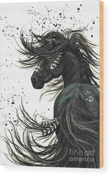 Mm65 Wood Print featuring the painting Majestic Spirit Horse I by AmyLyn Bihrle