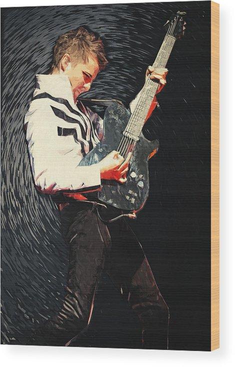 Matthew Bellamy Wood Print featuring the digital art Matthew Bellamy by Zapista OU