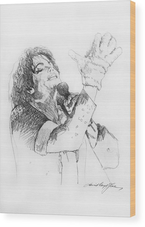 Michael Jackson Wood Print featuring the painting Michael Jackson Passion Sketch by David Lloyd Glover