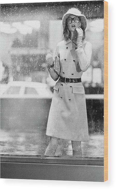 Fashion Wood Print featuring the photograph Model Wearing A David Crystal Coat by Kourken Pakchanian