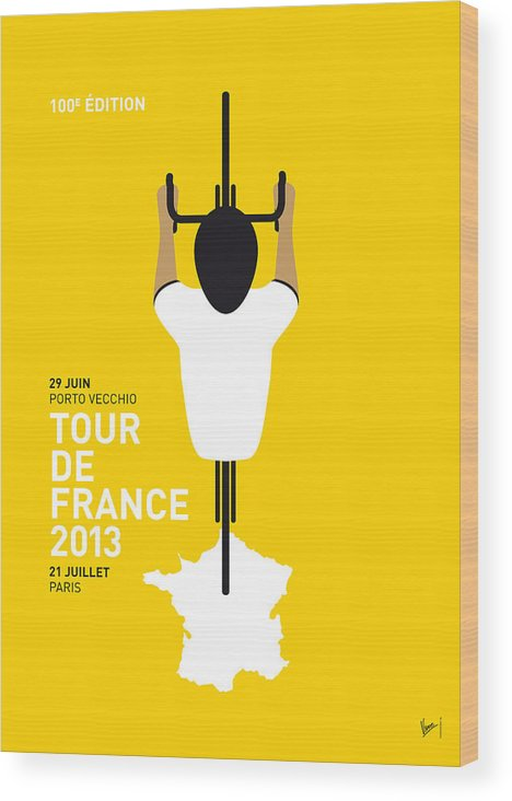 Cycling Wood Print featuring the digital art My Tour De France Minimal Poster by Chungkong Art