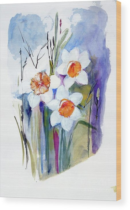 Narcissi Wood Print featuring the painting Narcissi by Sibby S