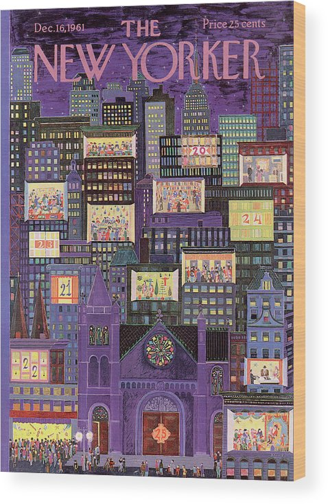 Christmas Wood Print featuring the painting New Yorker December 16th, 1961 by Ilonka Karasz