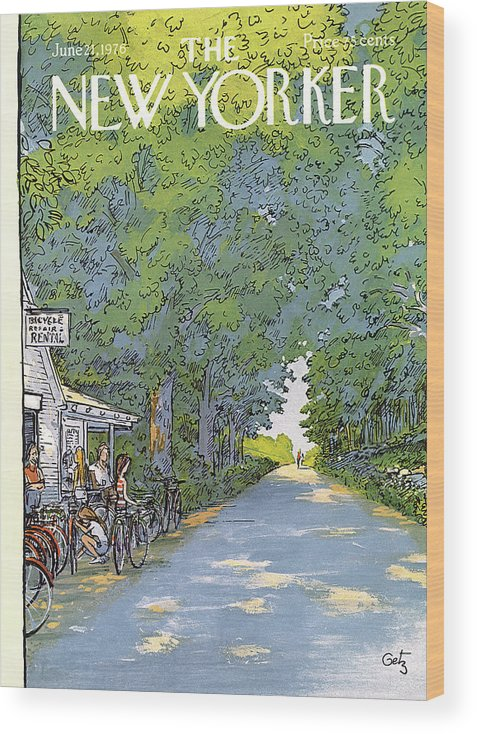 Summer Wood Print featuring the painting New Yorker June 21st, 1976 by Arthur Getz
