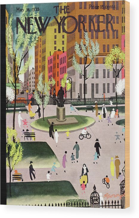 Park Wood Print featuring the painting New Yorker May 18, 1935 by Adolph K Kronengold