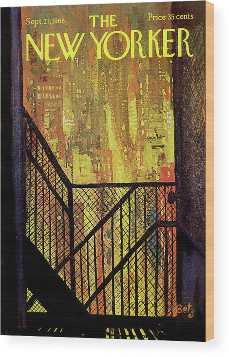 Arthur Getz Agt Wood Print featuring the painting New Yorker September 21st, 1968 by Arthur Getz