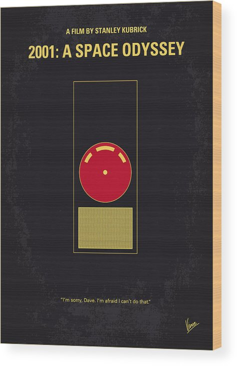 2001: A Space Odyssey Wood Print featuring the digital art No003 My 2001 A space odyssey 2000 minimal movie poster by Chungkong Art