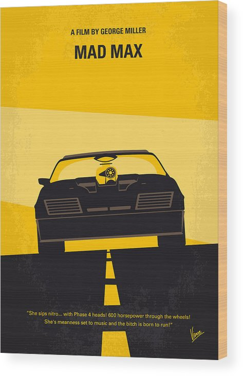 Mad Wood Print featuring the digital art No051 My Mad Max minimal movie poster by Chungkong Art