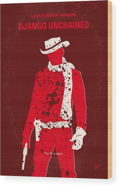 Django Wood Print featuring the digital art No184 My Django Unchained minimal movie poster by Chungkong Art