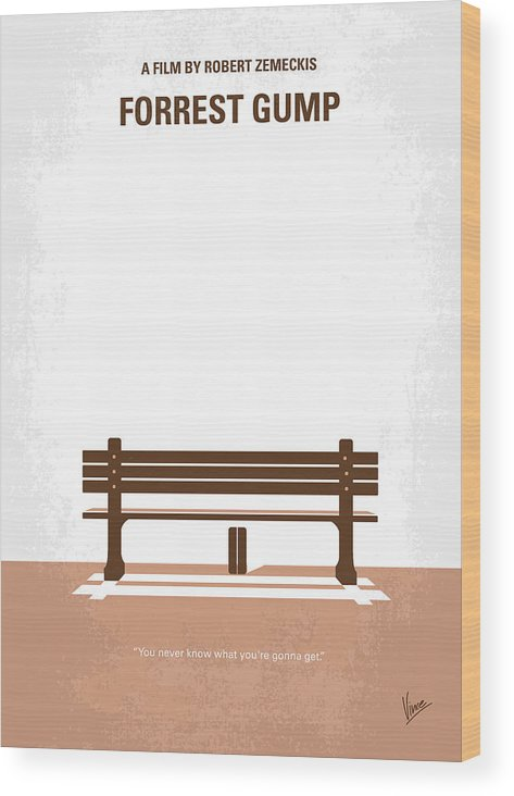 Forrest Wood Print featuring the digital art No193 My Forrest Gump minimal movie poster by Chungkong Art