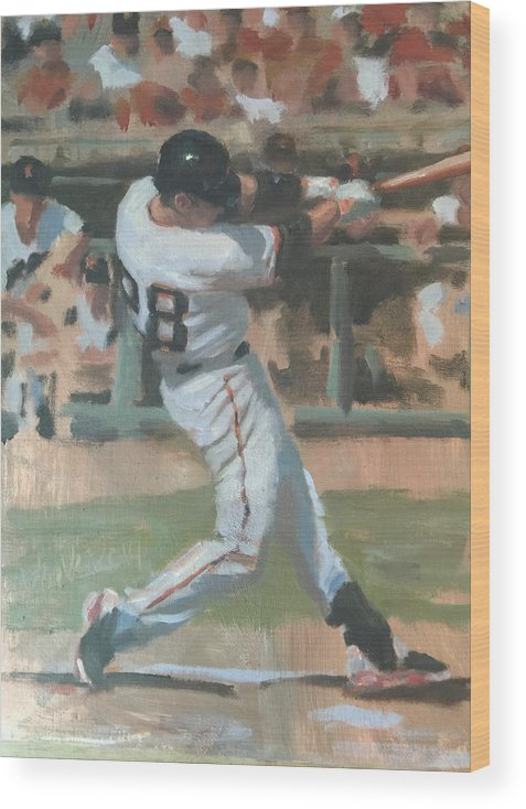 Buster Posey Wood Print featuring the painting Posey Shot by Darren Kerr
